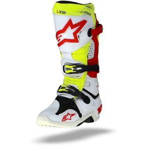 Alpinestars Tech 10 Vented Wit Rood Fluo Geel