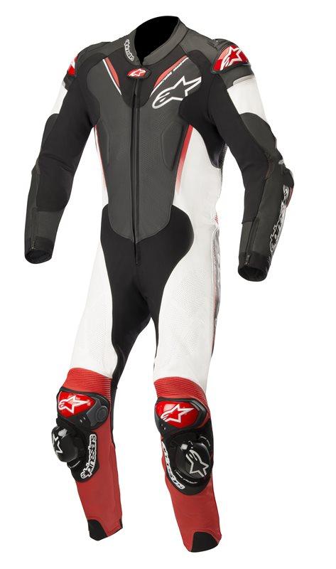 Afbeelding van alpinestars atem v3 1 delig zwart wit rood leren motorpak