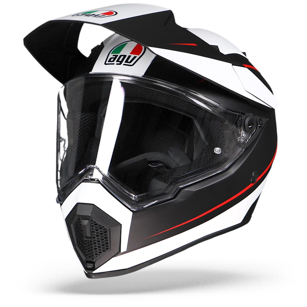 Afbeelding van agv ax9 pacific road matt black white red adventure helmet