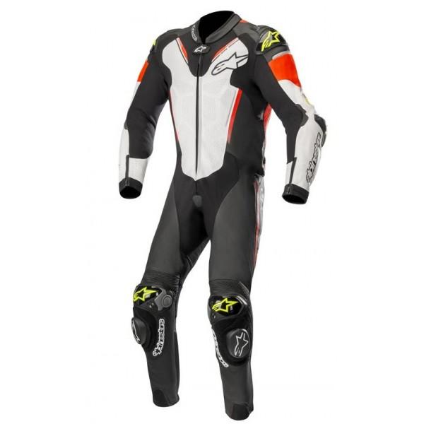 Afbeelding van alpinestars atem v3 black white red fluo yellow fluo leather 1pc suit