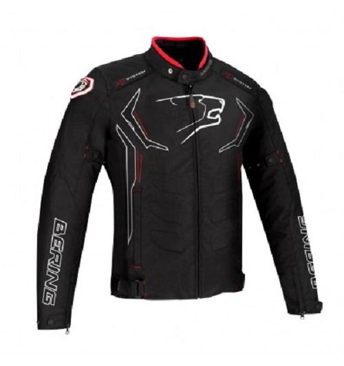 Afbeelding van bering guardian zwart wit rood textielen motorjas