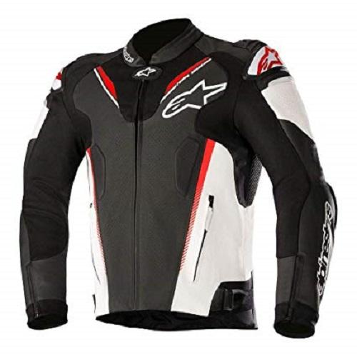 Afbeelding van alpinestars atem v3 black white fluo red leather jacket